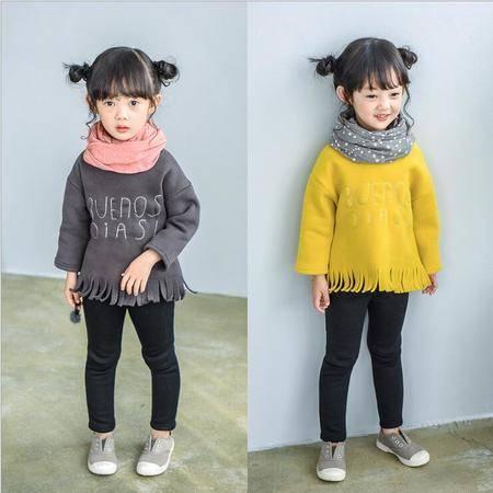 瑶行 新款女童印花流苏加绒长袖套头卫衣