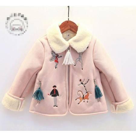 瑶行 女童新款卡通刺绣麂皮绒翻领羊羔毛外套