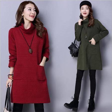 瑶行 冬装新款高领纯色中长款夹丝棉长袖打底衫