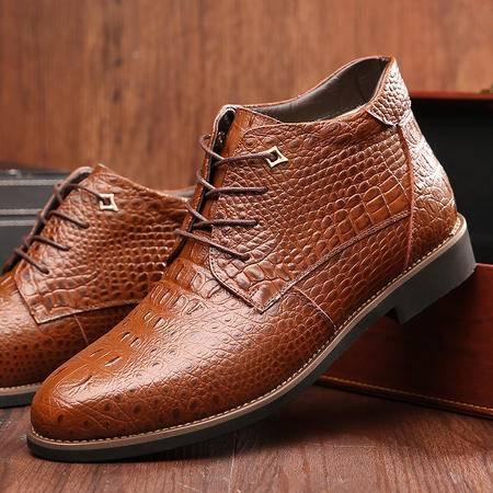 瑶行 男鞋包邮 2016冬季新品男士鳄鱼纹外贸皮靴加绒欧美马丁靴