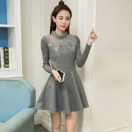 瑶行服饰   新款女装韩版时尚立领镂空毛呢拼接中长款打底连衣裙潮