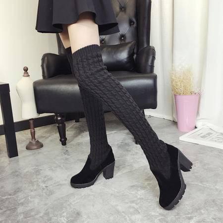 瑶行 女靴包邮 冬季新款韩版中跟粗跟毛线长筒靴显瘦过膝加厚保暖靴女靴