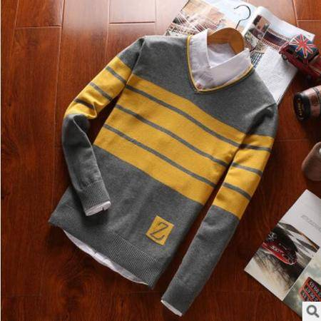 瑶行 韩版时尚男式毛衣新款针织衫男秋冬款套头毛衫青年男装打底衫