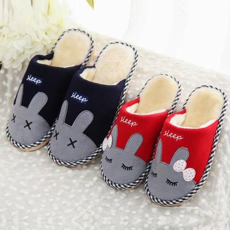 棉拖鞋居家室内半包跟可爱兔子情侣男女保暖防滑拖鞋