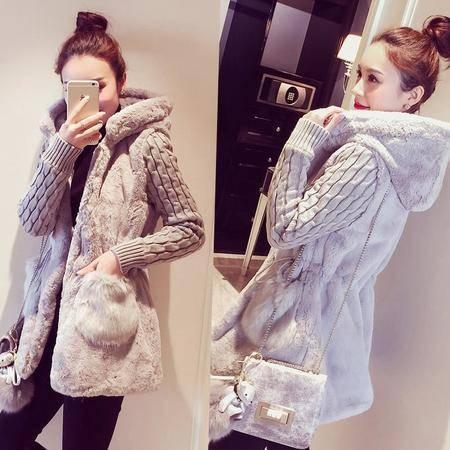 瑶行服饰   新款韩版经典时尚针织拼接毛绒加厚带帽风衣外套女