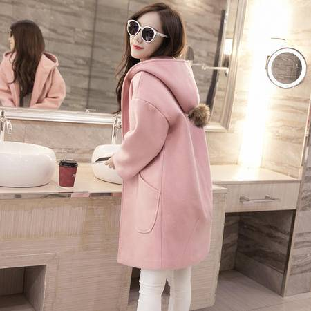 瑶行 韩版秋冬女装学生连帽毛球时尚毛呢外套女中长款粉色呢子大衣