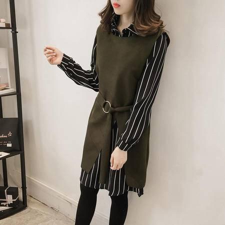瑶行 秋冬女装套装2016 韩版新款条纹衬衫毛呢开叉背心连衣裙两件套裙