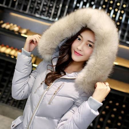 瑶行服饰   新款韩版修身显瘦棉衣时尚大毛领连帽口袋保暖羽绒棉服女