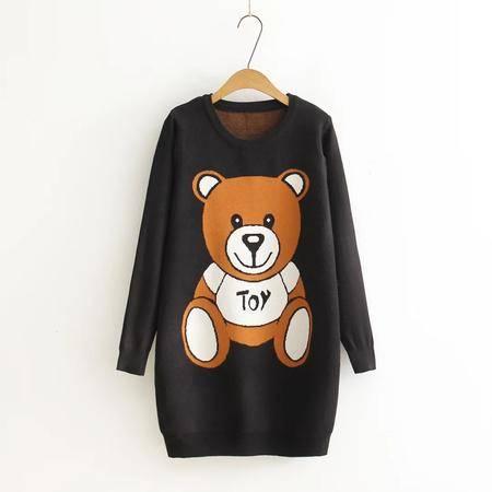 瑶行服饰   韩版针织衫女小熊图案圆领套头毛衣女中长款打底衫