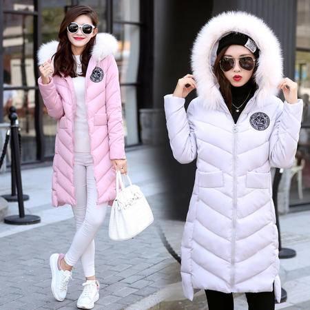 瑶行服饰  新款韩版修身加厚连帽保暖中长款羽绒棉服女棉衣外套潮
