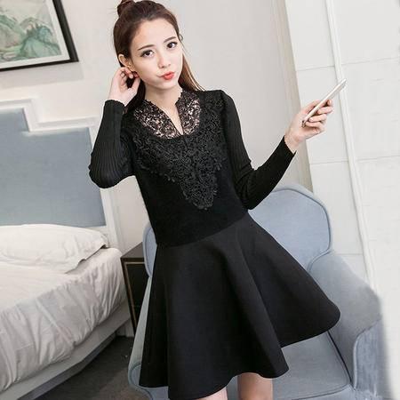 秋冬装新款韩版蕾丝拼接打底裙中长款毛呢连衣裙女
