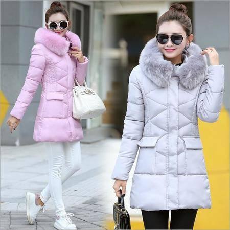 瑶行 秋冬季新款韩版女式中长款 加大码 修身大毛领羽绒棉服女款