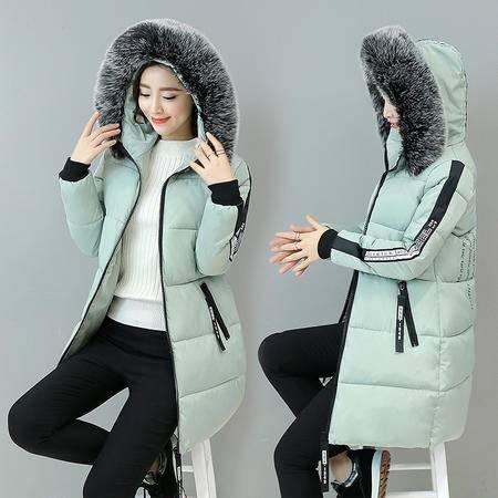 瑶行服饰  新款韩版时尚字母休闲加厚大毛领羽绒棉衣女外套