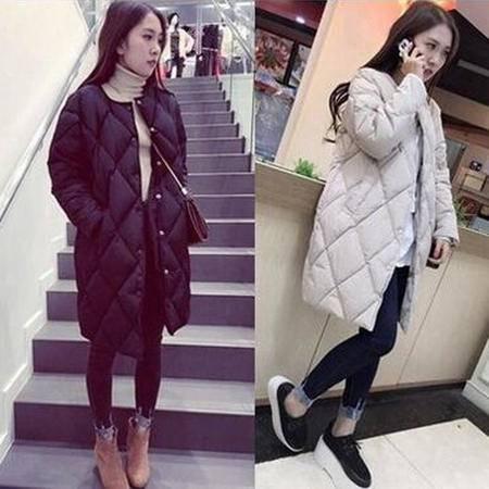 瑶行服饰  韩版中长款羽绒棉衣学生装宽松大码外套修身棉服女潮