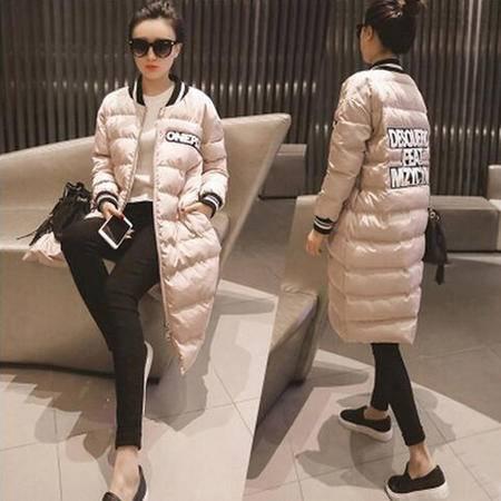 瑶行服饰  新款韩版中长款时尚字母棒球服棉衣棉服外套女