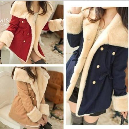 瑶行 秋冬季女装韩版新款修身显瘦双排扣学院风毛呢子大衣外套女潮