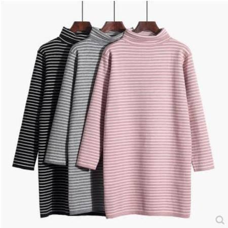 瑶行  冬季新款百搭女士中长款高领条纹套头毛衣淑女保暖打底针织衫上衣