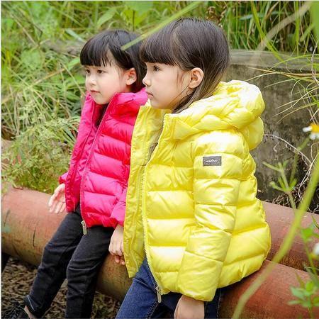 瑶行  冬季新款儿童羽绒服 中小童女童连帽宝宝羽绒外套 童装