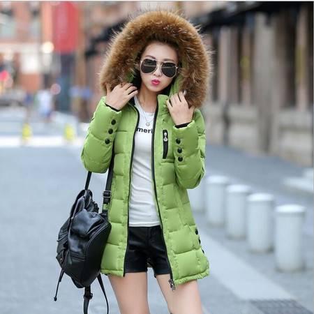 瑶行 秋冬装新款韩版中长款修身气质连帽毛领女装棉衣外套羽绒棉服