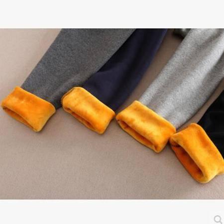 瑶行 秋冬新女裤弹力棉外穿打底裤修身提臀显瘦黑色纯色长裤黄金绒