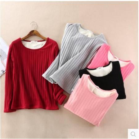 瑶行  冬季外贸超柔加绒加厚打底衫 竖条螺纹棉水貂绒T恤 针织保暖衣女
