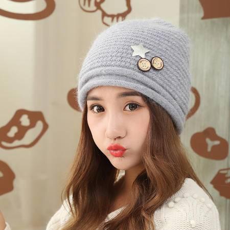 瑶行 帽子女冬天韩版毛线帽甜美可爱套头帽保暖护耳针织毛线帽女冬季