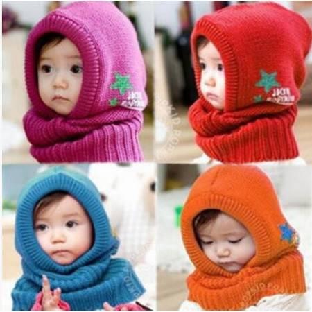瑶行  韩版冬新款五星男 女儿童帽子围脖连体套 宝宝加厚保暖帽子围脖套