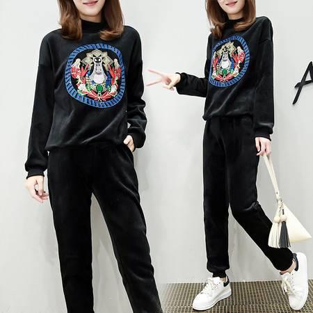 瑶行 新款韩版新款黄金绒加厚加绒两件套时尚刺绣套装女