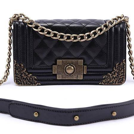 宋黛儿包袋新款韩版女包菱格链条包单肩斜跨包时尚女包 夏季正品新款  时尚休闲黑色包邮