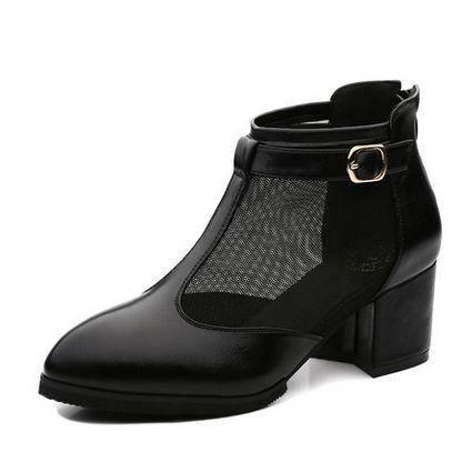 粗跟高跟凉鞋单鞋2014新款凉鞋深口女鞋尖头网纱单鞋包邮