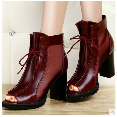 粗跟女鞋单鞋子2014新款高跟女凉鞋镂空网纱鱼嘴鞋女包邮