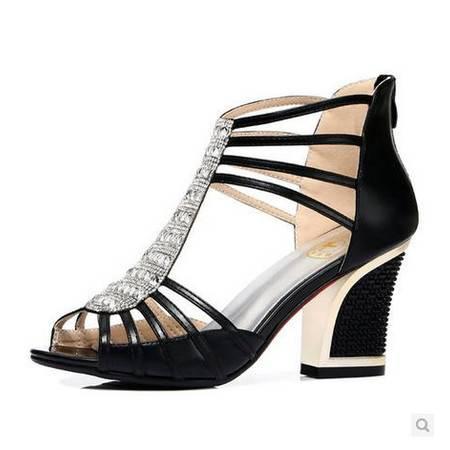 中跟粗跟凉鞋系带女夏凉鞋夏季新款女鞋罗马凉鞋鱼嘴包邮