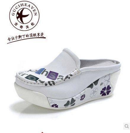 浅口单鞋平底坡跟单鞋新款女鞋真皮单鞋厚底松糕鞋包邮
