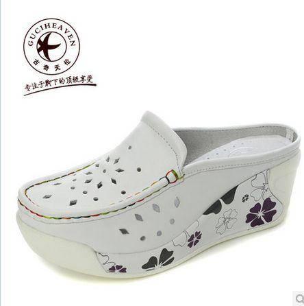 厚底松糕鞋中口单鞋坡跟单鞋新款女鞋真皮单鞋包邮