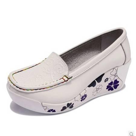 平底单鞋防水台女鞋新款女鞋真皮浅口单鞋厚底松糕鞋包邮