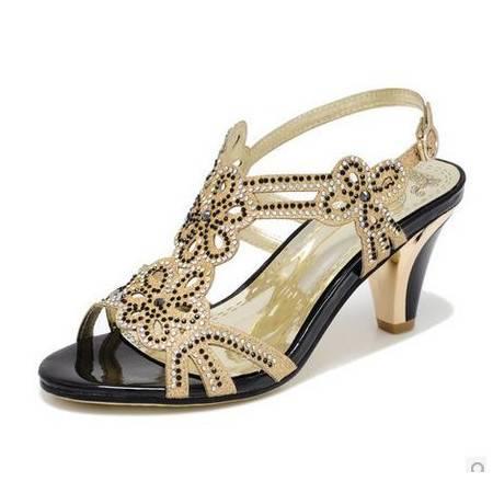 古奇天伦 女士新款夏季凉鞋高跟鞋粗跟水钻凉鞋 露趾罗马凉鞋女鞋镂空 包邮