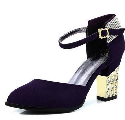 水钻性感包头凉鞋女2014新款女鞋凉鞋粗跟高跟单鞋包邮