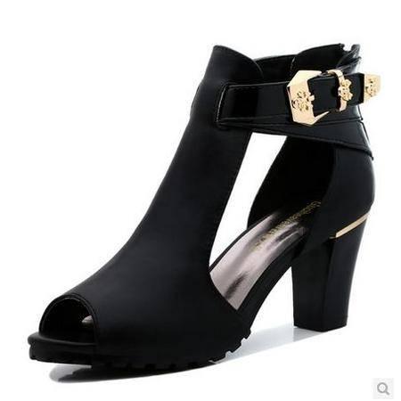 古奇天伦 女士粗跟防水台女鞋凉鞋夏季新款女凉鞋真皮鱼嘴鞋高跟鞋 包邮