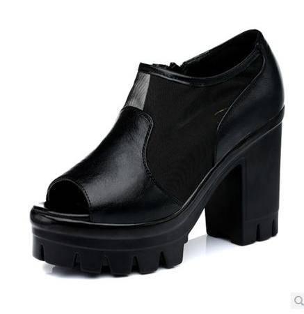 性感网纱凉鞋夏季新款女鞋鱼嘴粗跟高跟鞋凉鞋防水台包邮