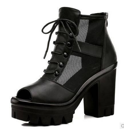 古奇天伦 女士新款春季女鞋子鱼嘴高跟鞋粗跟单鞋防水台深口包邮