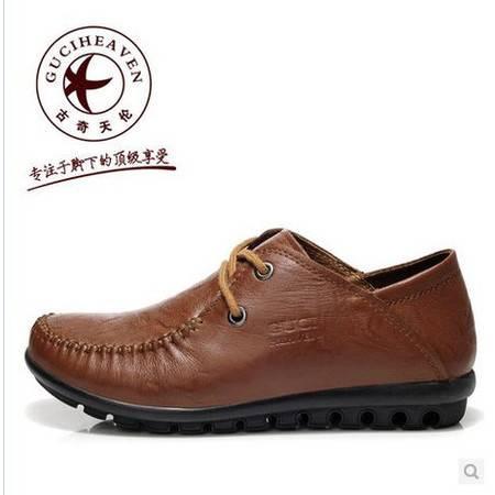 真皮女鞋豆豆鞋平底通勤女鞋春秋新款深口平跟单鞋包邮