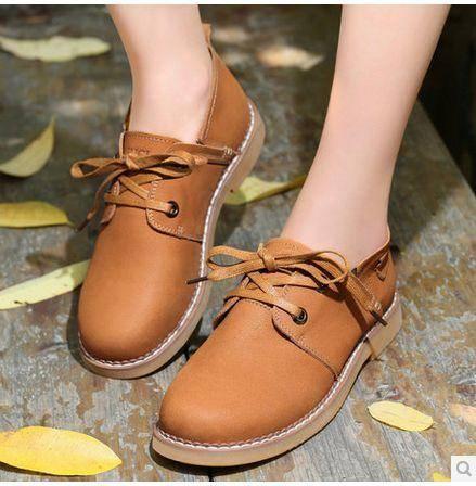 平底单鞋系带平跟单鞋新款复古女鞋浅口单鞋休闲鞋包邮