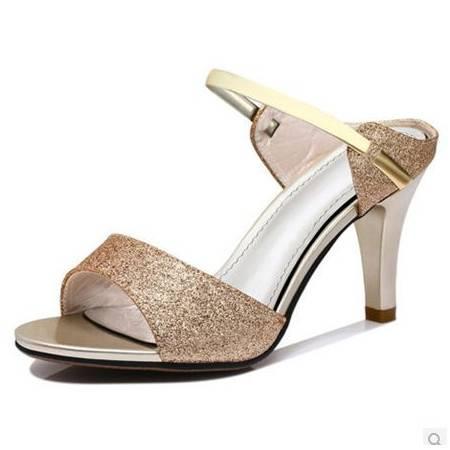 甜美女鞋凉鞋鱼嘴女夏夏季新款鱼嘴高跟鞋细跟凉鞋
