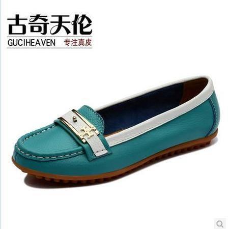 古奇天伦 女士平底平跟真皮豆豆鞋撞色女鞋春季新款女鞋浅口单鞋包邮