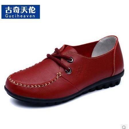 真皮女鞋简约时尚女鞋新款平底舒适女鞋浅口系带单鞋包邮