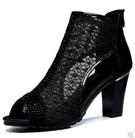 网纱凉鞋真皮女鞋透气女夏夏季新款粗跟中跟鱼嘴凉鞋包邮