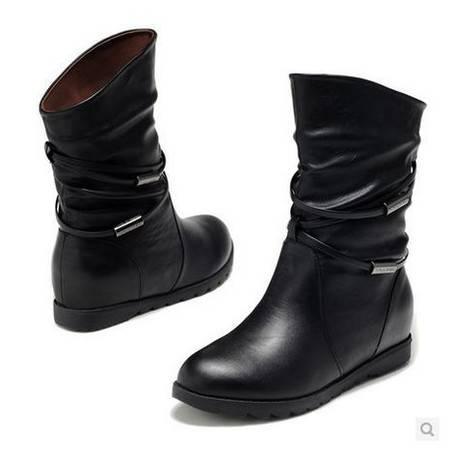 平底中筒靴女靴子单内增高女流苏女靴 女鞋