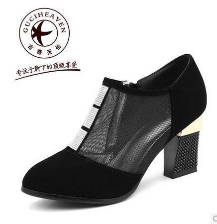 粗跟高跟鞋网布单鞋春季潮2014新款优雅尖头水钻女鞋包邮