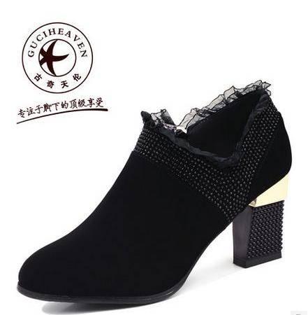 优雅深口单鞋女鞋水钻女鞋春季新款女鞋粗跟高跟单鞋包邮