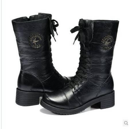 英伦 马丁靴 中筒靴 冬季  牛皮女靴 包邮